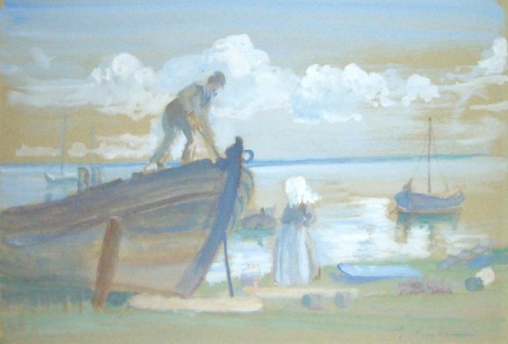 Fischer mit Mädchen