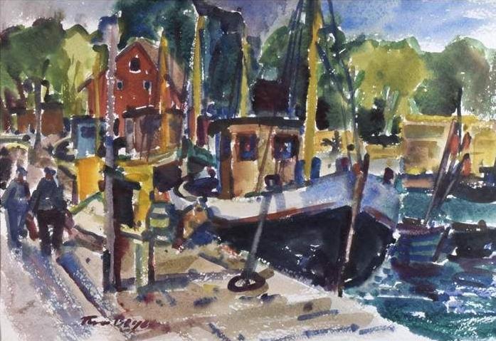 Tom Beyer - Boote im Hafen - 47 cm x 68 cm