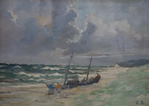 Fischer am Ostseestrand vor Vitte
