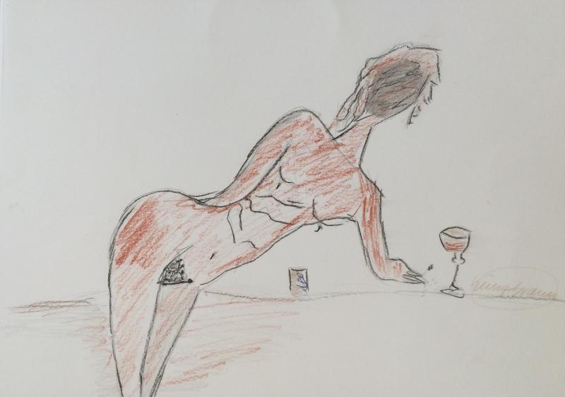Akt mit Wein
