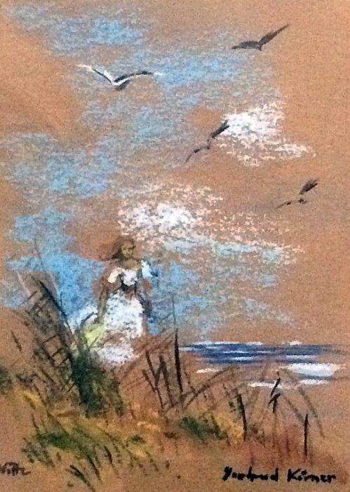 G Koerner - Mädchen am Strand vor Vitte