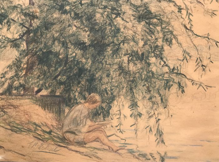 Elisabeth Büchsel - Lesendes Mädchen am Wasser