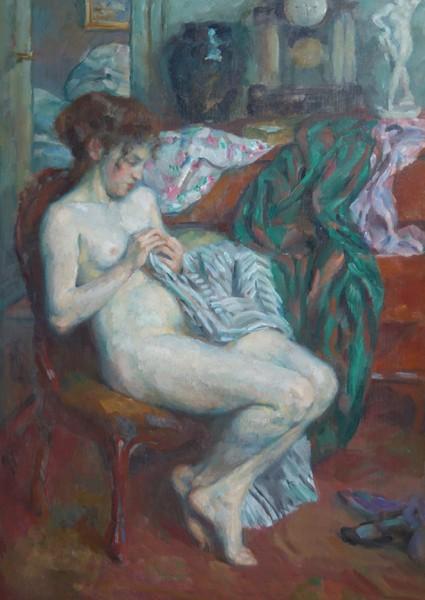 Fritz Strobentz - Weiblicher Akt im Atelier des Künstlers
